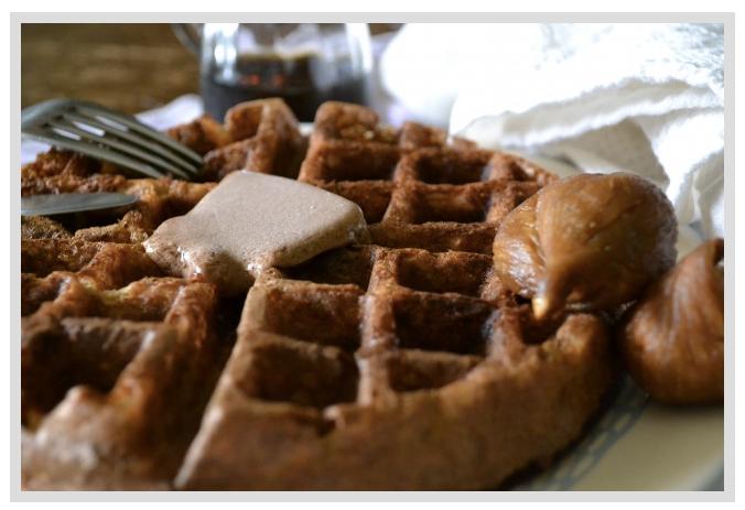 Gluten free, vegan: Banana-Chai Buttermilk Waffles with Cocoa-Coconut Butter
