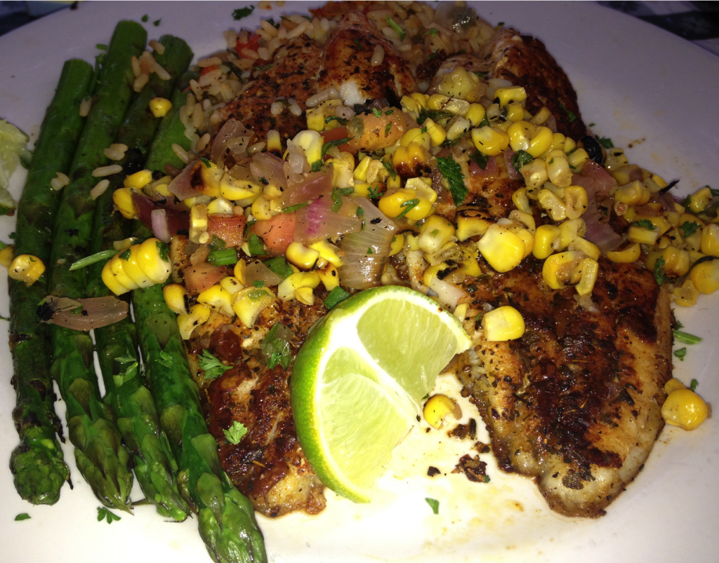Blackened Catfish with Asparagus (Paleo, DF, GF)