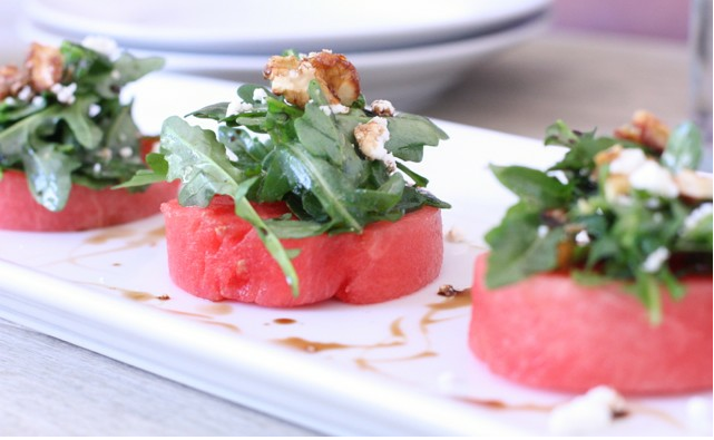 watermelon salad with arugula, goat cheese & candied walnuts