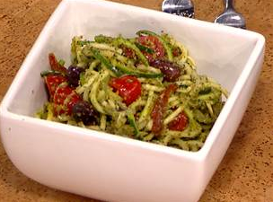 Zucchini linguini with omega-rich pesto
