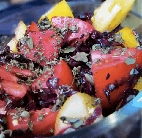 Gluten free, Dairy free Tomato Salad with Red Kraut