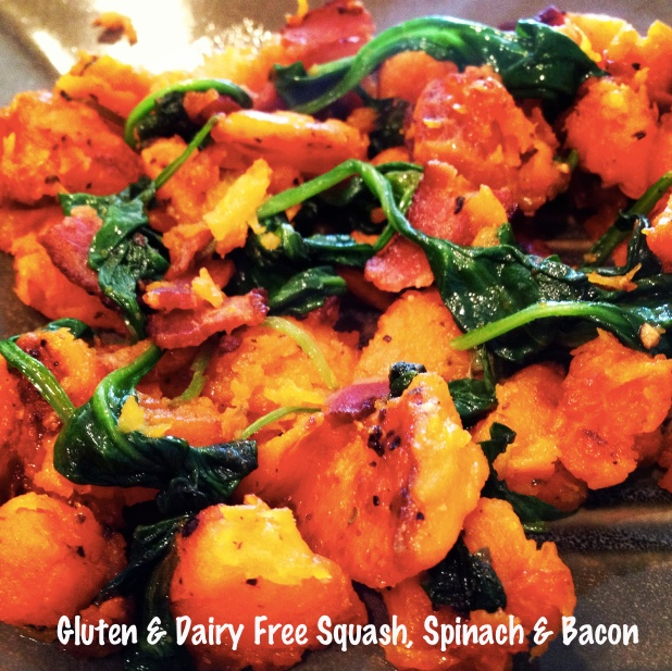 Sautéed squash, spinach and bacon (Paleo)