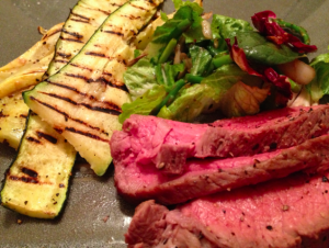 roast beef with grilled squash
