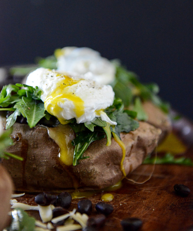 Black Bean, Arugula, and Poached Egg Stuffed Sweet Potatoes